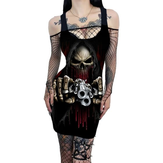Lovaru Women Sleeveless Vintage Gothic 3D Print Dress