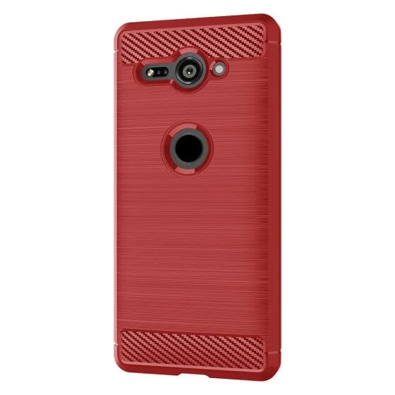 Fiber Brushed TPU Mobile Phone Case for Sony Xperia XZ2 COMPACT (Red)