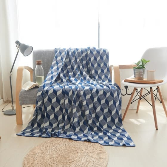8209d7e0af 100% Cotton Soft Knitted Blanket Geometric Pattern Double Sided Available Sofa  Throw Blanket