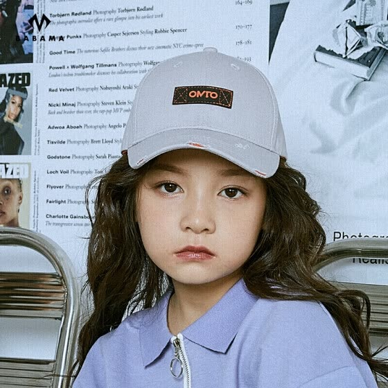 OMTO original fashion brand baseball cap spring and summer models 6-12 years old boys and girls sun hats baby caps young children's hats gray free