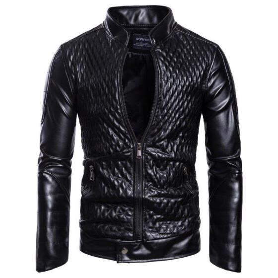 Men´s Autumn Leather Jacket Slim Fit Motorcycle Jacket Zipper Casual Coat NEW
