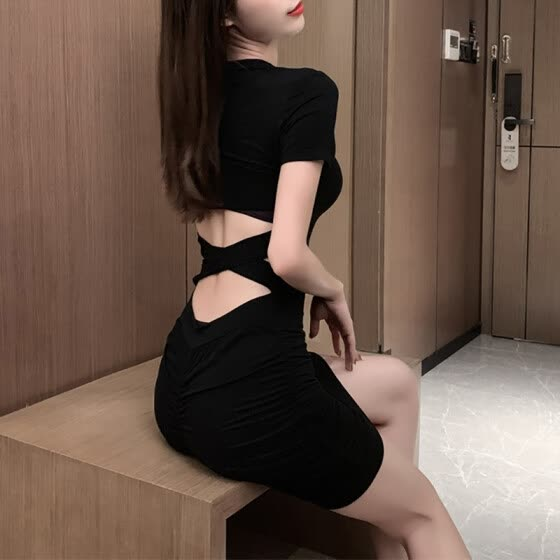 Sexy Bodycon Bandage Backless Summer Dress 2020 Women Tight Ruched Short Party Club Dress Cut Out Mini T-Shirt Dress Black Grey
