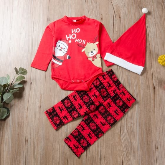 New Autumn Fashion Baby Boy Girl Clothes 0-24M Cute Cartoon Printing Bodysuit And Trousers And Hat Kids Three-piece Outfit Set
