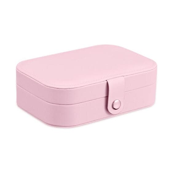 PU Leather Jewelry Storage Box Necklace Bracelet Organizer Case (Pink)