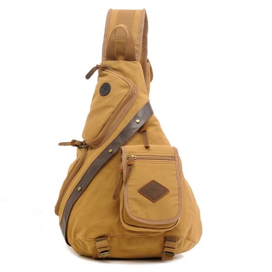 Men Canvas Retro Style Crossbody Bag Military Army Vintage Messenger Bags Shoulder Bag Color:Khaki