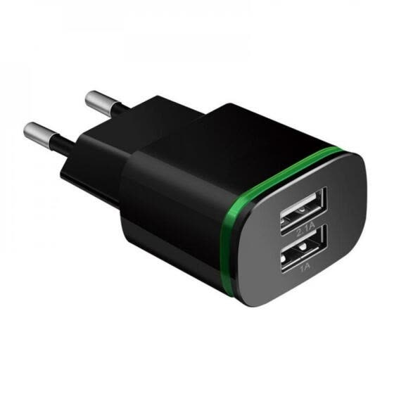 Portable Dual Port USB Charger Adapter 2.1A LED Travel Charge  Multi Port HUB Charger EU/US Plug