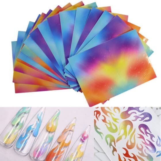 16PCS Nail Art Stickers Flame Reflections Tape Adhesive Foils DIY Decoration