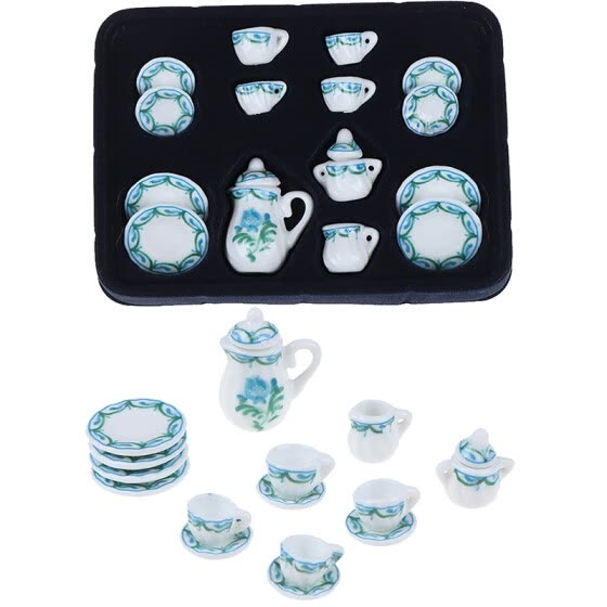 1:12 Miniature 15pcs Porcelain Tea Cup Set Chintz Flower Tableware Kitchen