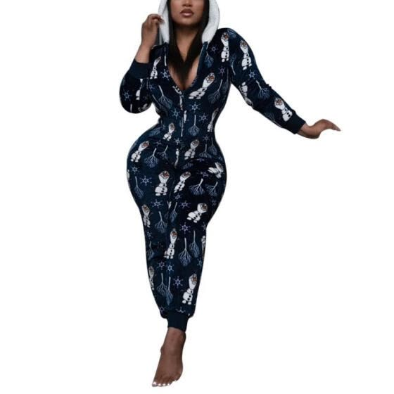 Women Christmas Print Jumpsuit, Casual Style Long Sleeve Zipper Hooded Romper (Red, Blue)