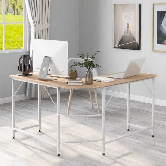 L-Shaped Computer Desk Office Desk Laptop Study Workstation Large PC Gaming Desk Home-Office Table,Natural