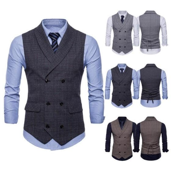 New Men Formal Business Slim Fit Plaid Vest Suit Tuxedo Waistcoat