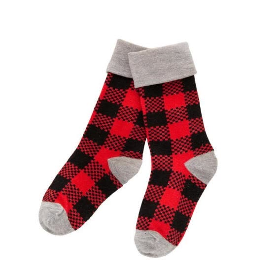 Christmas Parent-child Stockings, Snowflake and Santa Claus Printed Pattern Socks, Red/ Grey/ Red Plaid/ White Plaid