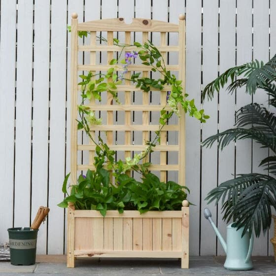 Raised Bed with Trellis Standing Lattice Panels for Plants Flowers or Vine