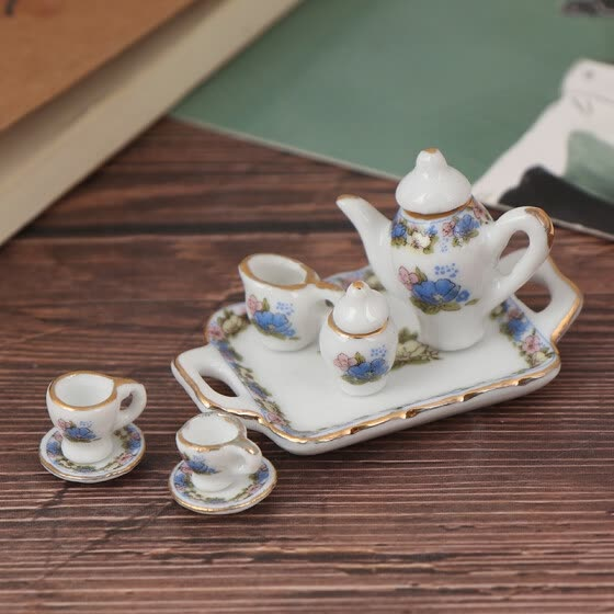 8Pcs 1:12 Dollhouse Miniature Dining Ware Porcelain Tea Set Dish Cup Plate
