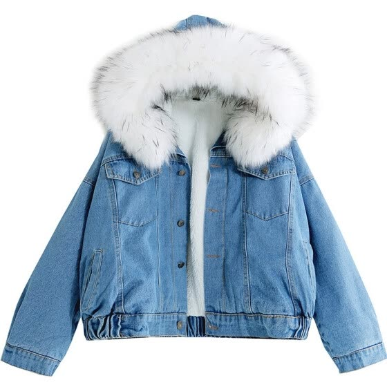 Women Warm Denim Short Coat Collar Jacket Slim Winter Hooded Outwear Coats
