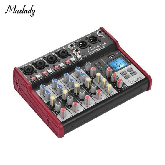 Muslady SL-6 Portable 6-Channel Mixing Console Mixer 2-band EQ Built-in 48V Phantom Power Supports BT Connection USB MP3 Player fo