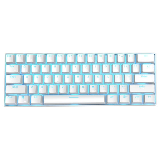 RK61 mechanical keyboard Bluetooth wired dual mode 61 key wireless office backlight mechanical keyboard tea shaft white ice blue light