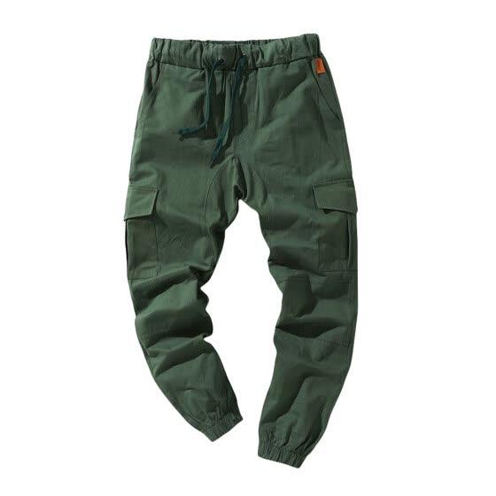 Men Solid Color Cargo Trousers, Loose Fit Drawstring Waist Long Pants
