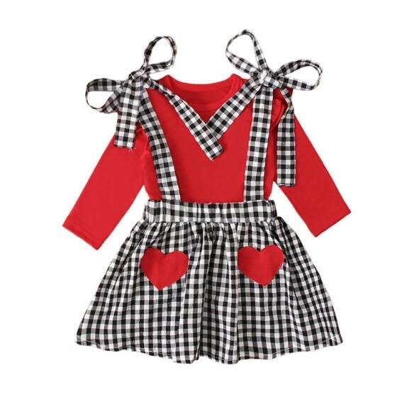 Girl's Sweet Solid Color T-shirt and Plaid Bow Suspender Skirt Set
