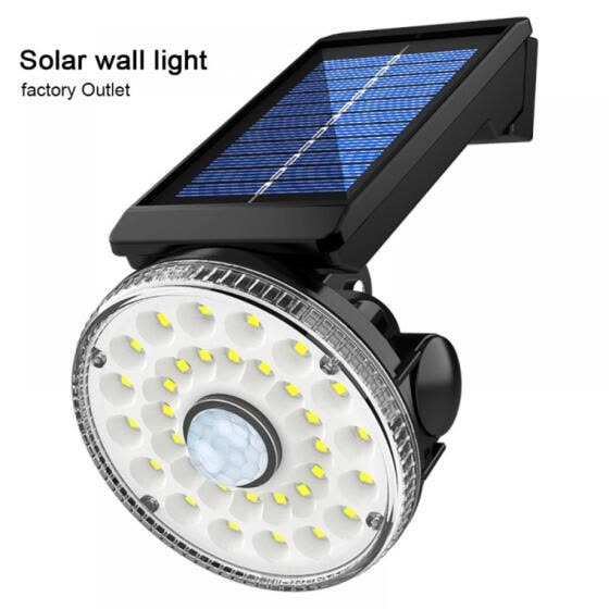 32 LED Solar Flood Light Motion Sensor Security Spot Wall Street Yard Outdoor Lamp