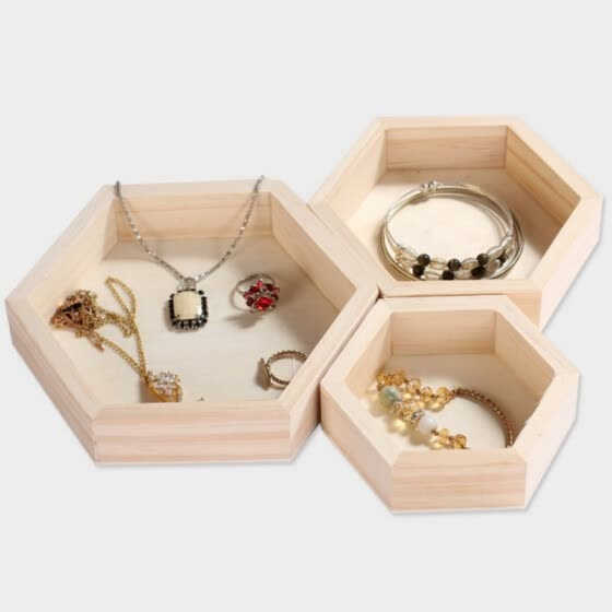 Hexagon Jewelry Storage Boxes Bracelet Necklace Display Tray Plate Wooden Cases Organizer Dishes Tray
