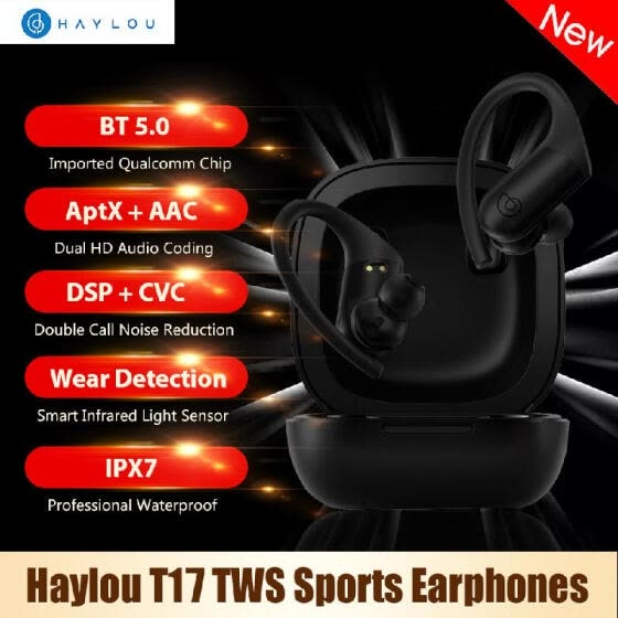 Haylou T17 TWS  Earphones BT5.0 Headphones HD Stereo Earbuds with Qualcomm Chip/DSP CVC Noise Reduction/ Aptx AAC/Touch Control/US