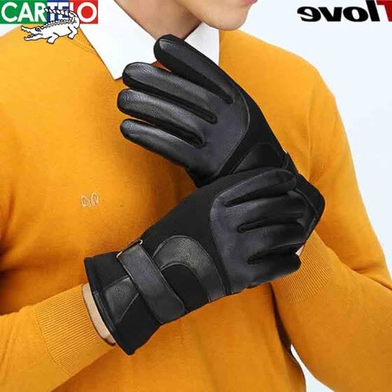 8c093f9c690c2 Cartier crocodile gloves men's winter plus velvet thickening warm  water-proof windproof touch screen riding