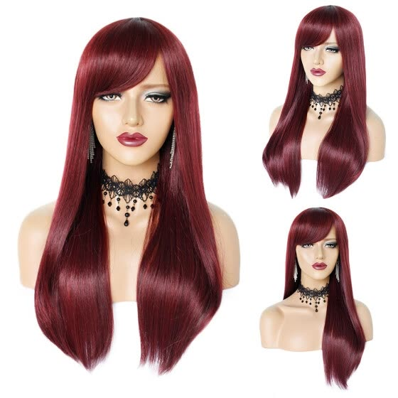 Women's Fashion Wine RedWigBig wave  Natural Looking  Straight  hair Wigs