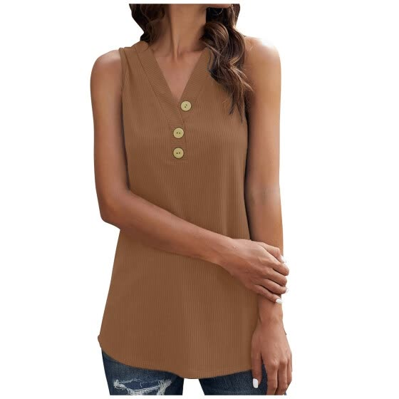 Women's Fashion Loose Solid Color Causal Sleeveless V-Neck T-shirt Top Blouse