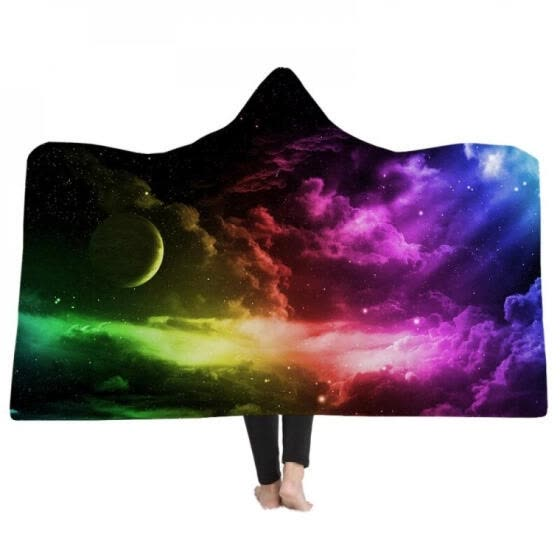 Cute Cat Print Wearable Hooded Throw Blanket Soft Warm Colorful Starry Sky Print Sofa Couch Bed Fleece Fabric Cover Blankets