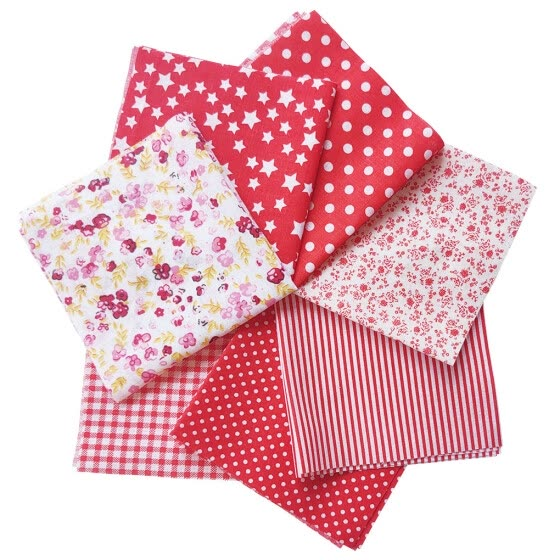 Dido 7 Pcs/set Printed Cotton Patchwork Fabric Squares Bundle Quilting Scrapbooking Sewing Craft DIY Cloth, Red, 25x25cm