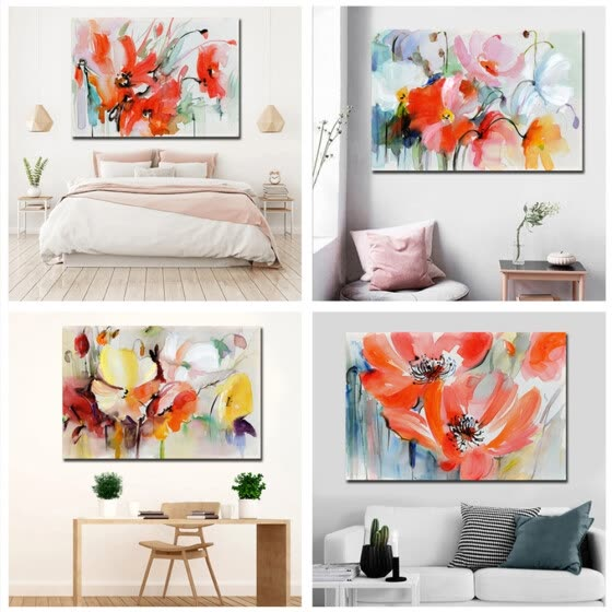 Abstract Floral Plants Poster Decorative Picture Modern Wall Art Paintings for Living Room Home Decor