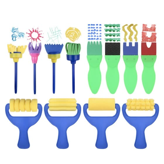 12pcs Kids Painting Tools Sponge Plastic Handle Drawing Brushes Rollers Brooms Early Education Graffiti Toys