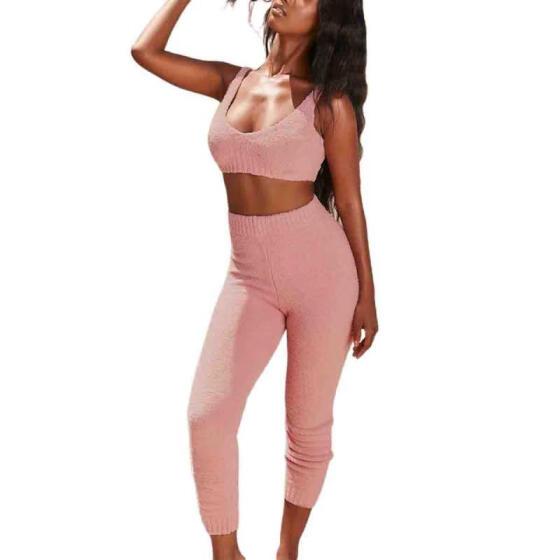 Women 2PCS Home Wear Set, Crop Low Chest Tops, Long High Waist Pants Suit