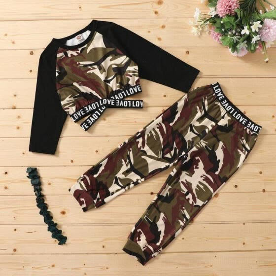 YE-2Pcs Autumn Spring Kids Fashion Casual Clothes Sets Girls Splicing Long-sleeved Tops Pullover Camouflage Trousers Pants Outfits