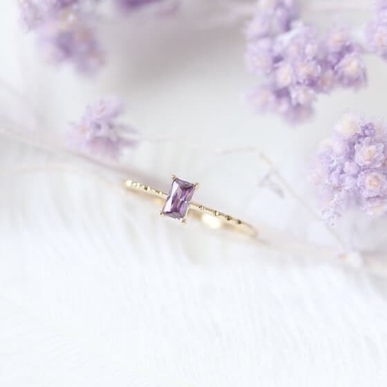 Jsqnanchi Creative and simple 14K personalized purple diamond ring