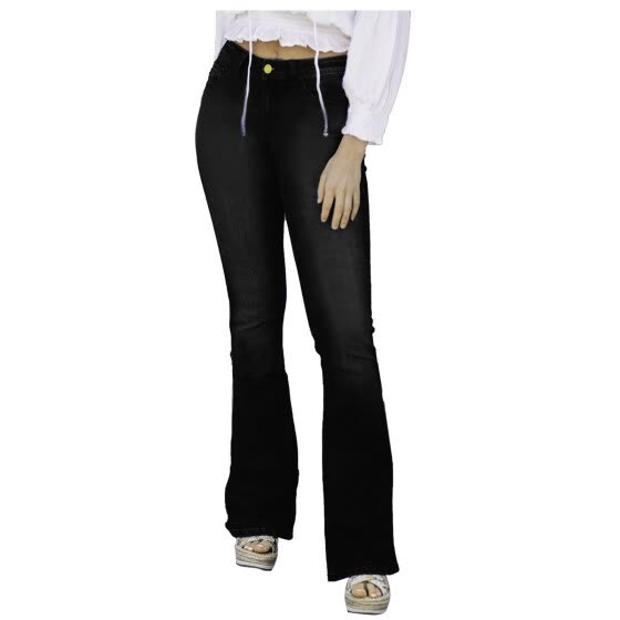 Fashion Women Solid Button High Waist Pocket Jeans Trousers Flares Denim Pants