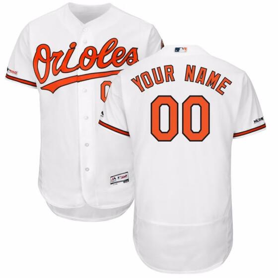 3585e47246b Shop Men's Baltimore Orioles Majestic Home White Flex Base Custom ...