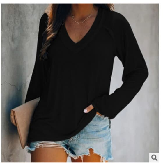 Women's Ladies New Solid Color Deep V-neck Casual Pullover Long Sleeve T-shirt Top