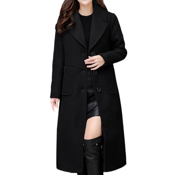 Women Ladies Winter Lapel Slim Long Coat Jacket Parka Outwear Wool Overcoat
