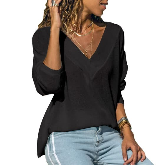 Women's Knit Tunic Long Sleeve V-Neck Loose Casual Pullover Tee T-Shirt Tops