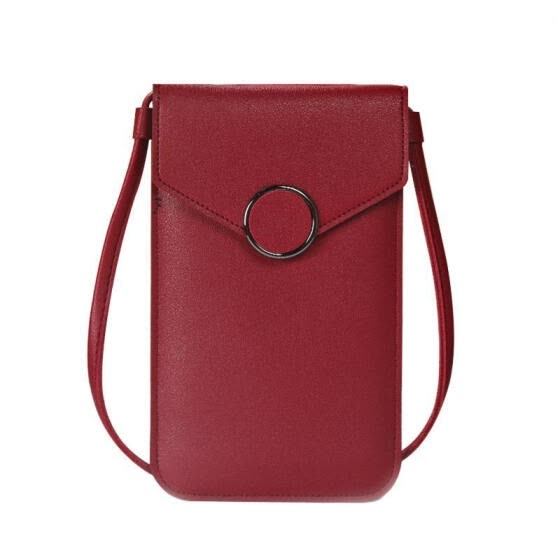 Female Shoulder Bag, Solid Color Touch Screen Cellphone Pouch Crossbody Bag for Mobile Phone Cash Cards