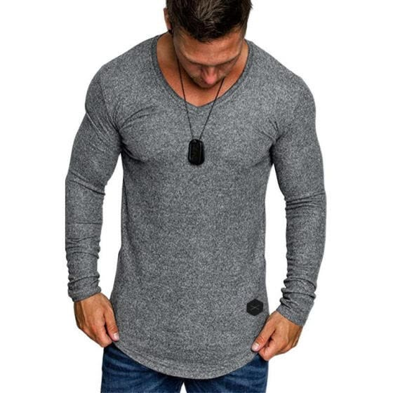 Men Long Sleeve V-neck T-shirt Fashion Top for Gathering, Going Out, Daily, Casual Wear