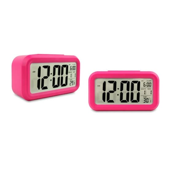 Digital Bedside LED Snooze Alarm Clock Time Temperature Day/Night Mode Clock
