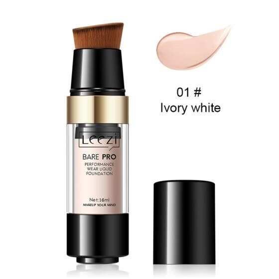 Liquid Foundation Oil Control Moisturizing Concealer Cover Pores Acne Marks Face Makeup with Brush New