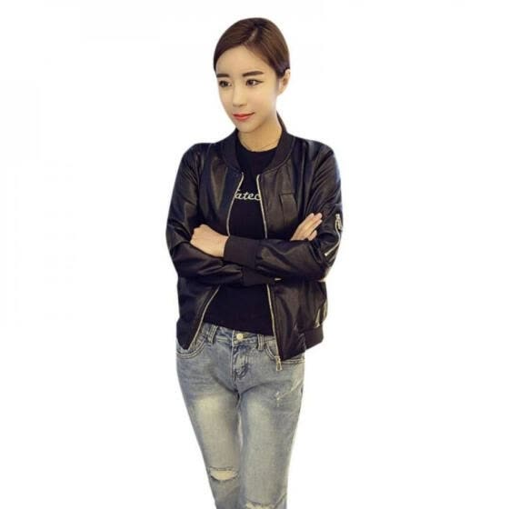 Autumn Winter Women Slim Fit Outerwear Zipper Round Collar O Neck PU Leather Baseball Style Jacket Short Black Coat