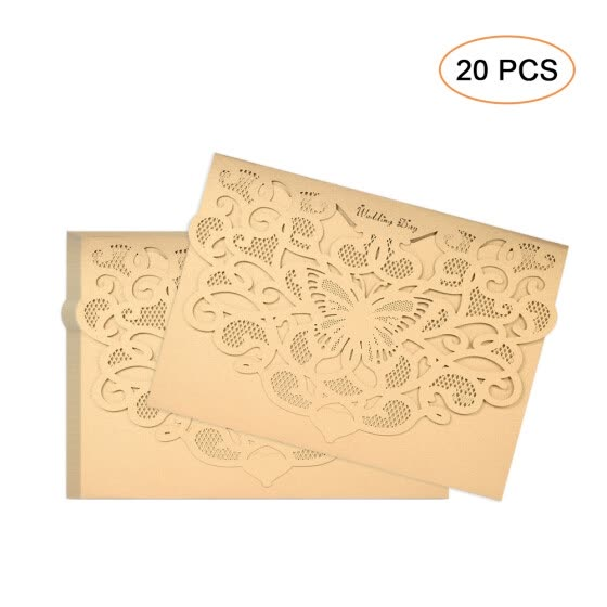 20pcs/set Wedding Invitation Cards Pearl Paper Laser Cut Hollow Butterfly Pattern Invitation Cards Kit--Champagne