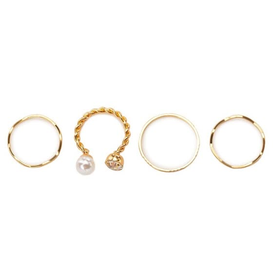 4 Pcs/set Women Simple Casual Ring Pearl Decoration Jewelry for Banquet Wedding Color:Gold