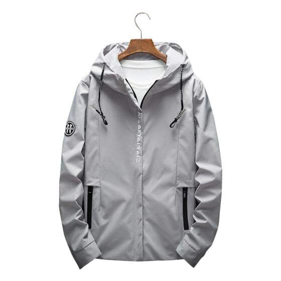Spring Jacket Men Casual Clothing Outwear Hooded Coat (Grey)(4XL)