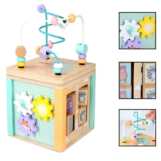 Children Wooden Multi-function Puzzle Round Bead Treasure Box Early Learning Intellectual Development Parenting Math Toy